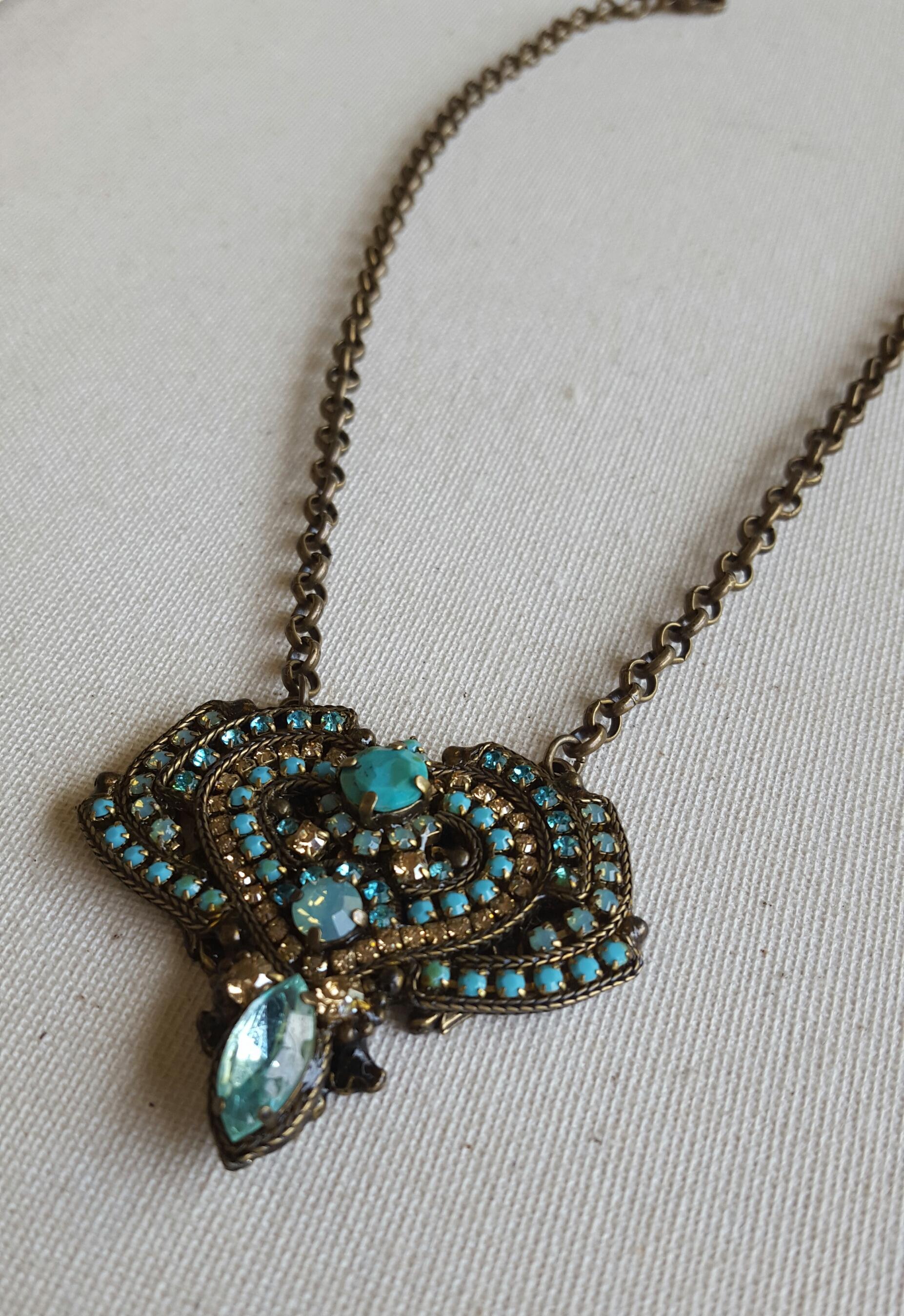 Swarovski Crystal: Aquamarine, Pacific Opal, Topaz Semi-Precious: Turquoise